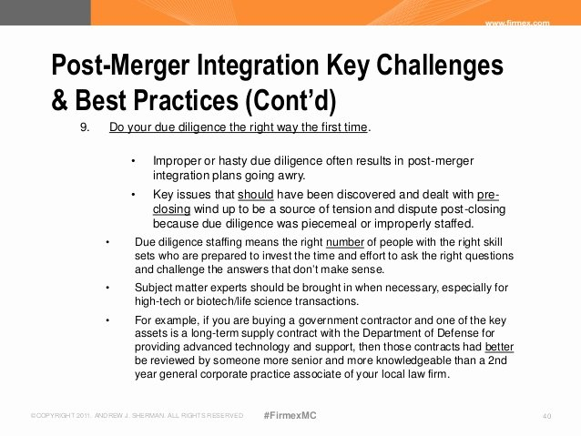 Post Acquisition Integration Plan Template Fresh Ensuring Success In Post Close Integration