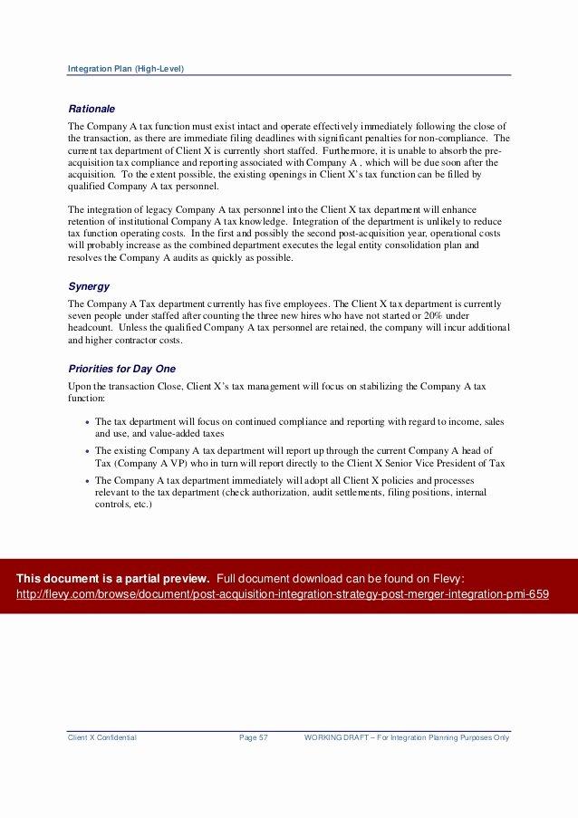 Post Merger Integration Plan Template New Post Acquisition Integration Strategy Post Merger
