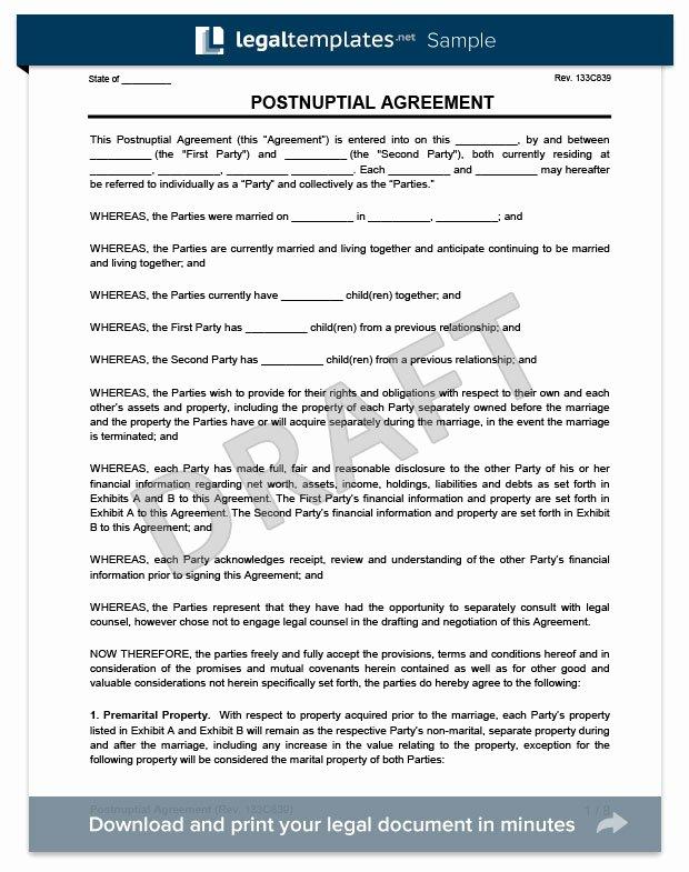 Postnuptial Agreement Florida Sample Beautiful Postnuptial Agreement Create A Free Postnup