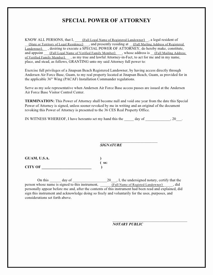 Power Of attorney Letter format Unique Printable Sample Power attorney Template form