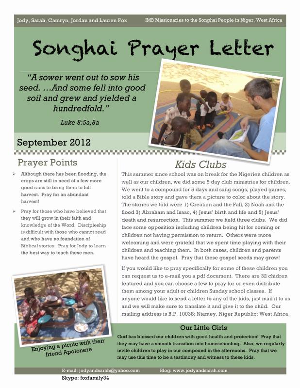 Prayer Letter Templates Free Best Of Seeking the songhai Fox Family Prayer Letter September 2012