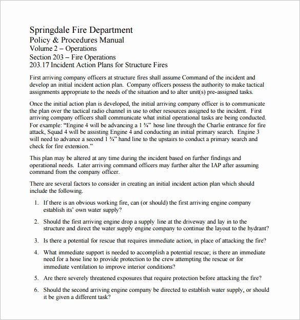 Pre Fire Plan Template Unique 6 Incident Action Plan Templates Doc Pdf