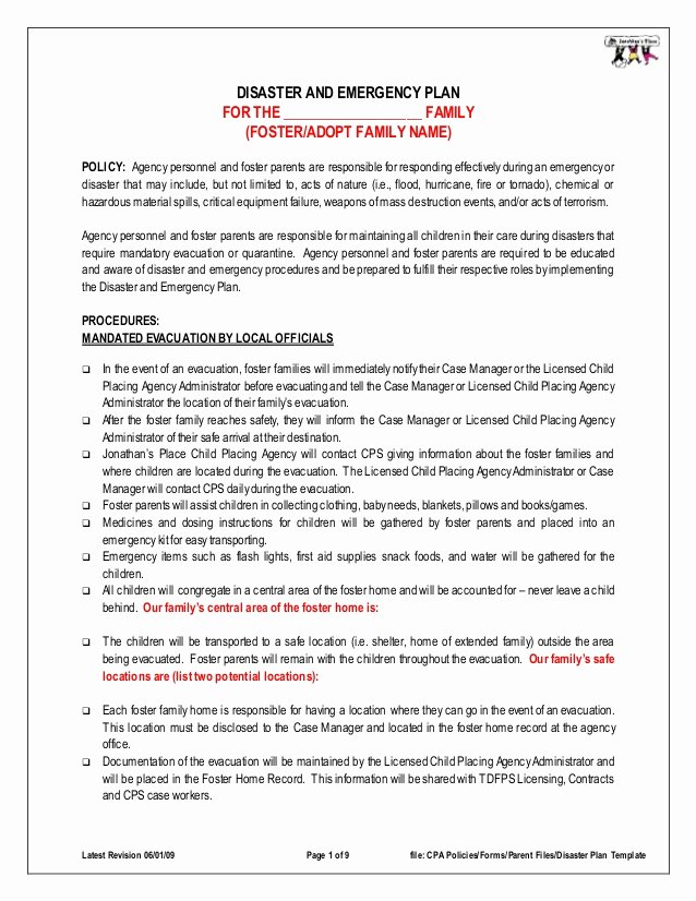 Pre Fire Plan Template Unique Disaster Emergency Plan Template for Families