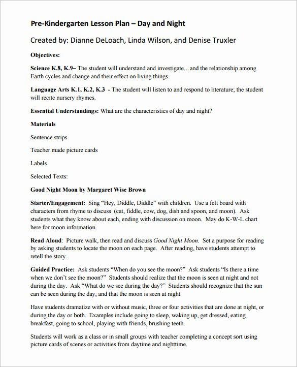 Pre K Lesson Plan Template Elegant 59 Lesson Plan Templates Pdf Doc Excel