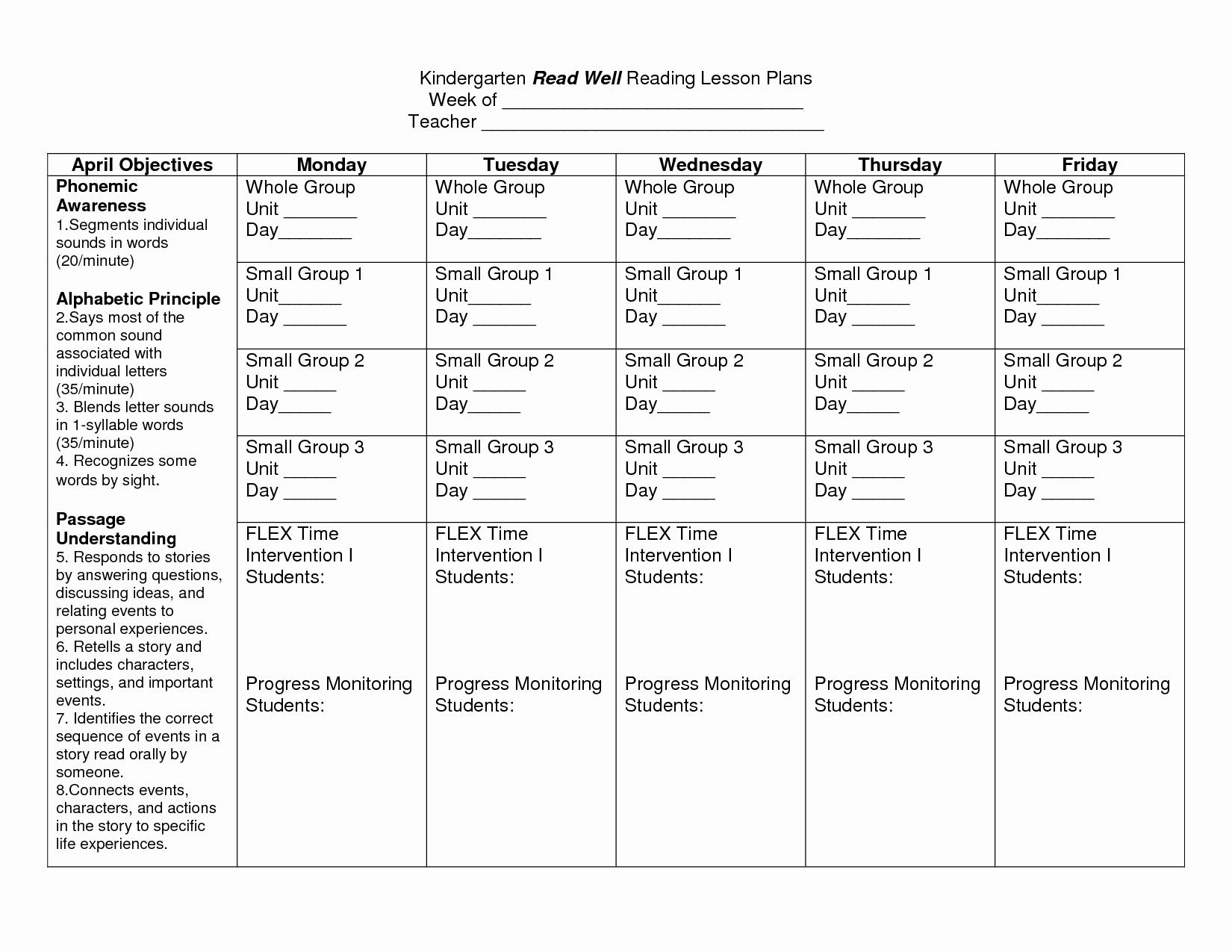 Pre K Lesson Plan Template Lovely Kindergarten Lesson Plan Template