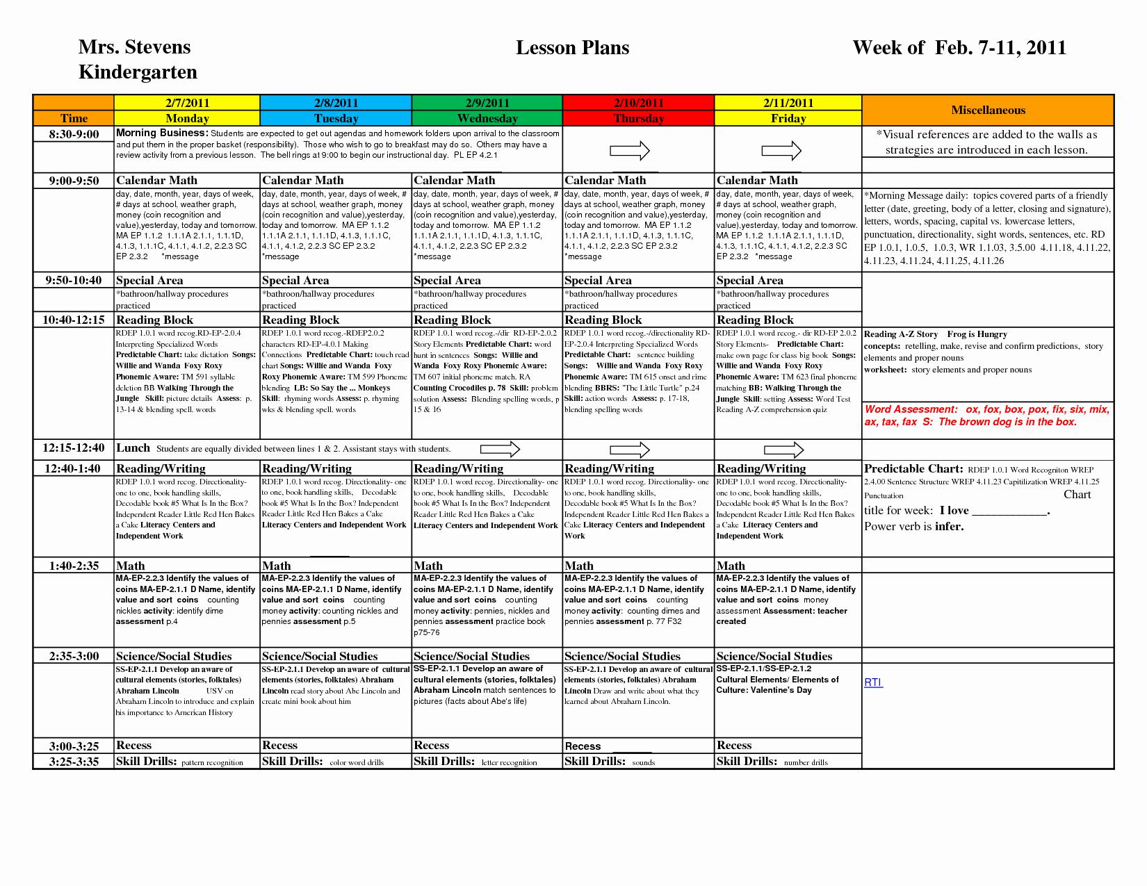 Pre K Lesson Plan Template Unique Kindergarten Lesson Plan Template