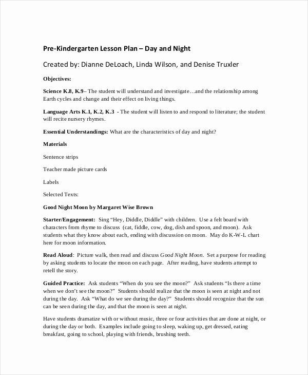 Pre Kindergarten Lesson Plan Template Best Of Preschool Lesson Plan Template 10 Free Word Pdf Psd