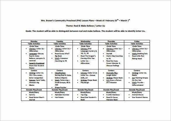 Pre Kindergarten Lesson Plan Template Inspirational Preschool Lesson Plan Template 11 Free Pdf Word format