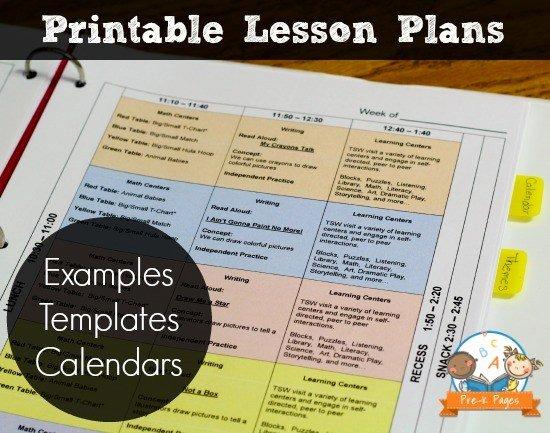Pre Kindergarten Lesson Plan Template Luxury Printable Lesson Plans for Preschool Pre K and