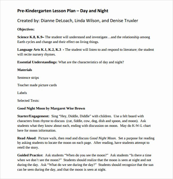 Prek Lesson Plan Template Best Of 8 Kindergarten Lesson Plan Templates for Free Download