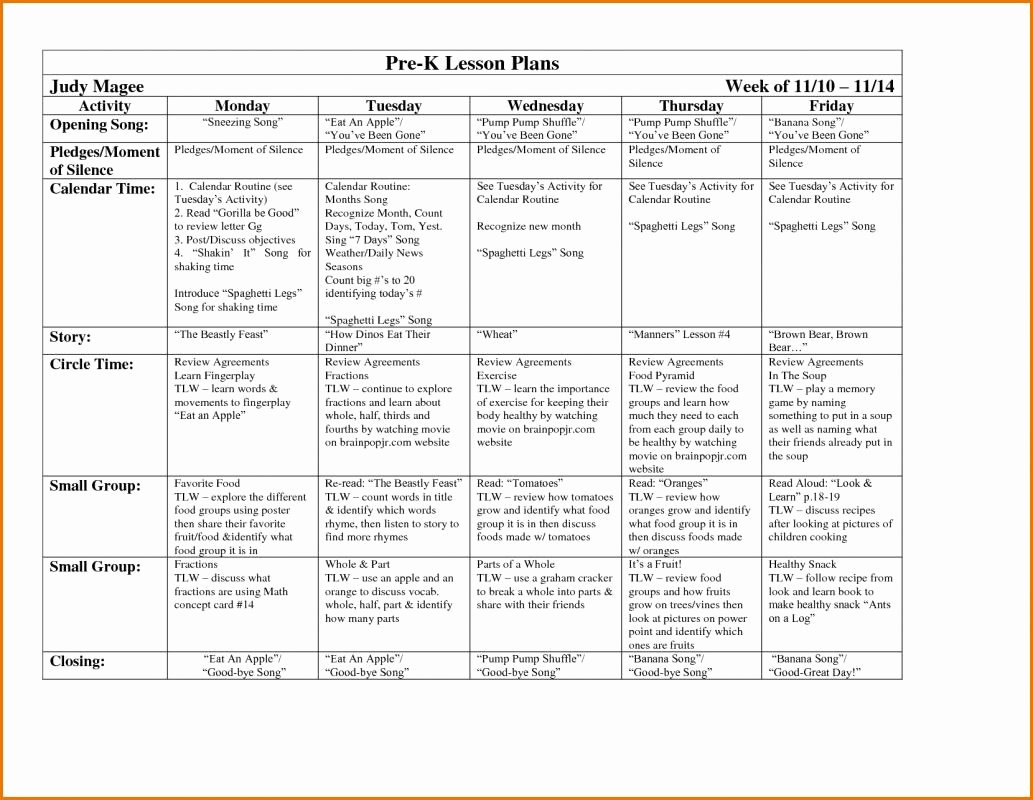 Prek Lesson Plan Template Elegant Prek Lesson Plan Template