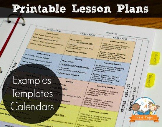 Prek Lesson Plan Template New Printable Lesson Plans for Preschool Pre K and Kindergarten