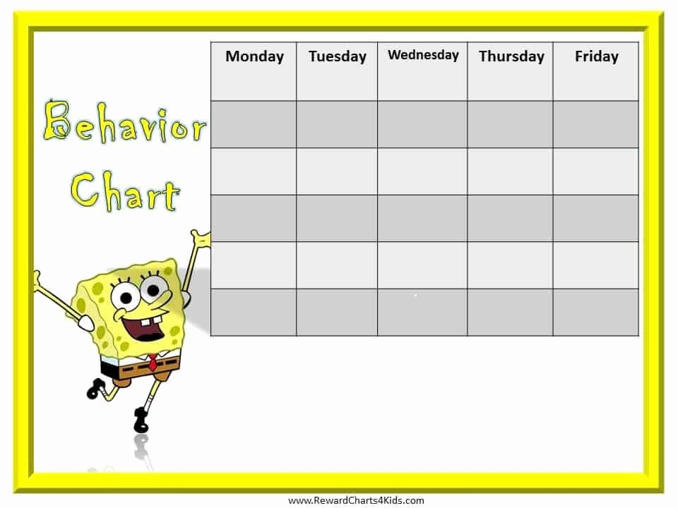Preschool Behavior Plan Template Unique Spongebob Behavior Charts