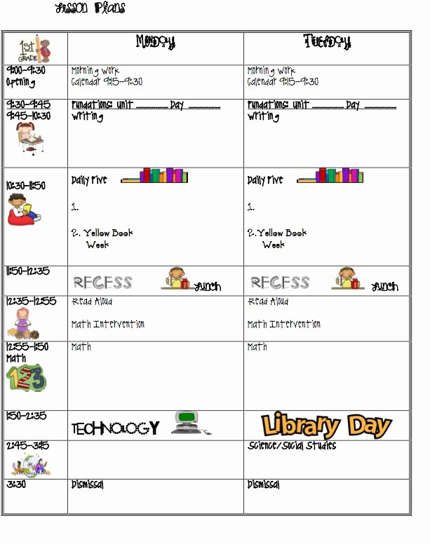Preschool Daily Lesson Plan Template Best Of 7 Best Daily Schedule Images On Pinterest