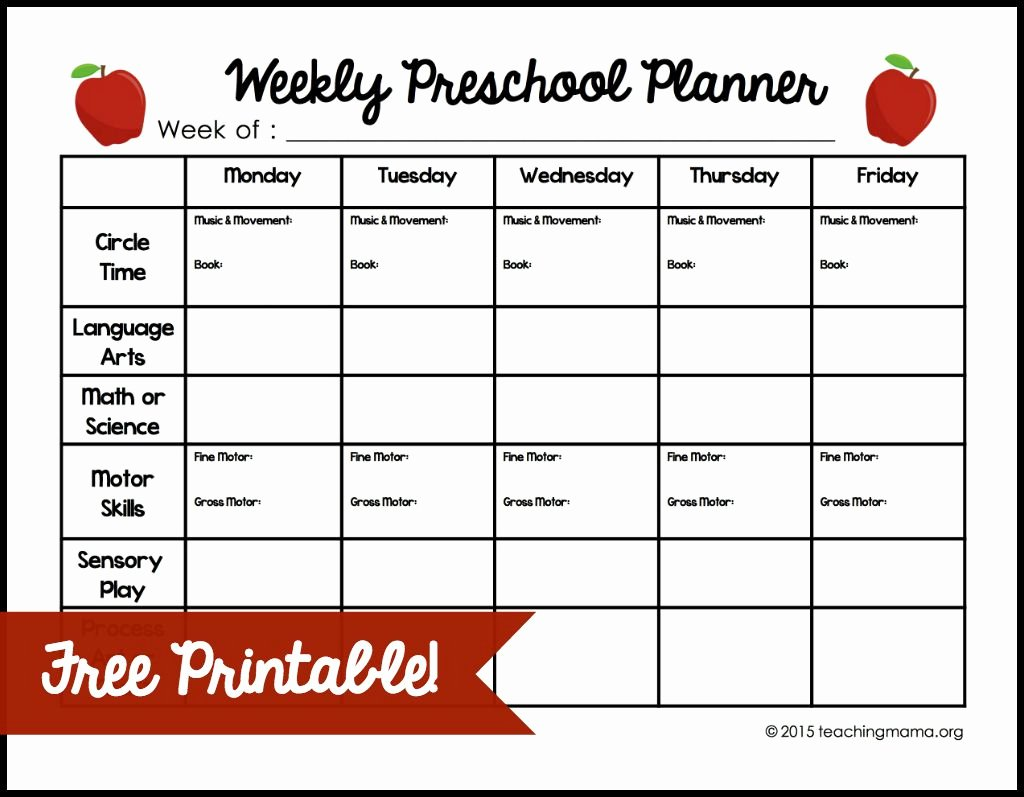 Preschool Daily Lesson Plan Template Best Of Weekly Lesson Plan Template for Preschool