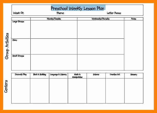 Preschool Daily Lesson Plan Template Inspirational Weekly Lesson Plan for Preschool