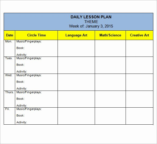 Preschool Daily Lesson Plan Template Luxury Preschool Lesson Plan Template 10 Download Free