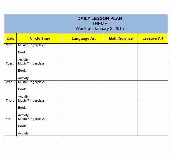 Preschool Daily Lesson Plan Template Luxury Preschool Lesson Plan Template 10 Download Free