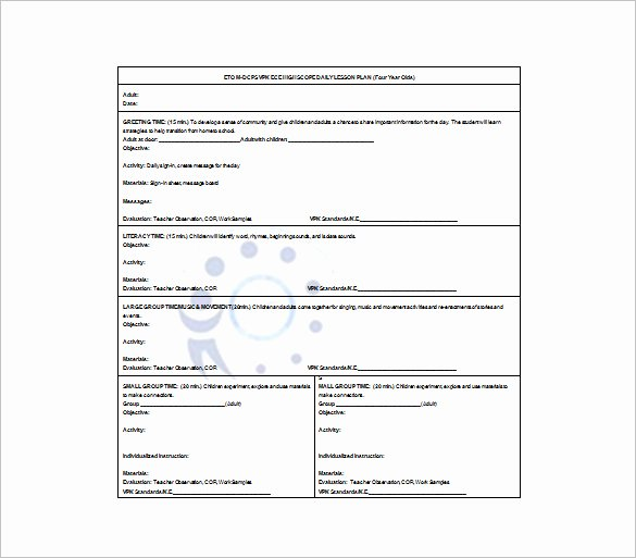 Preschool Daily Lesson Plan Template New Daily Lesson Plan Template 10 Free Word Excel Pdf