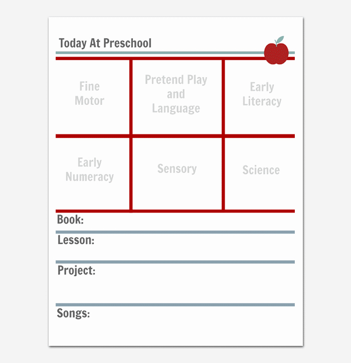 Preschool Daily Lesson Plan Template New Preschool Lesson Plan Template Daily Weekly Monthly