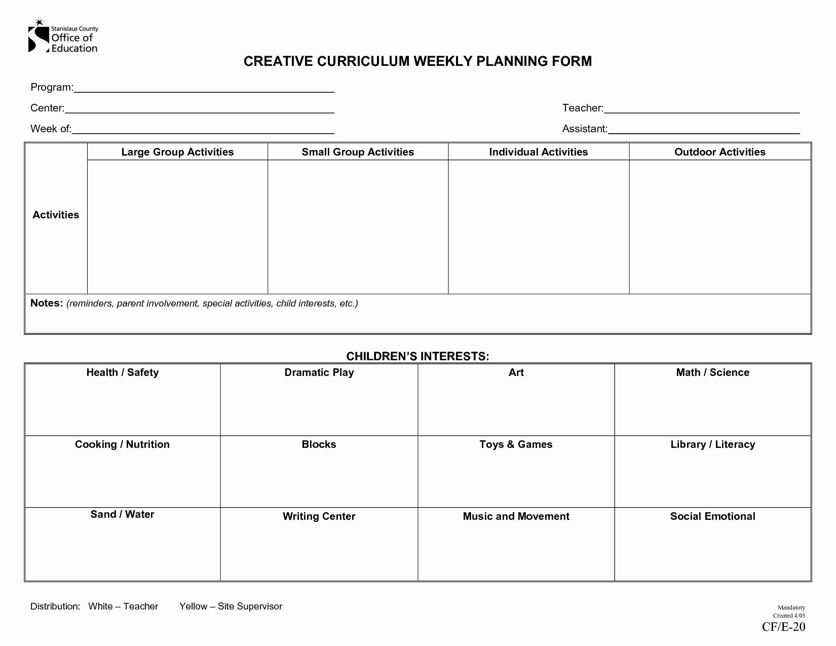 Preschool Lesson Plan Template Lovely Creative Curriculum Blank Lesson Plan