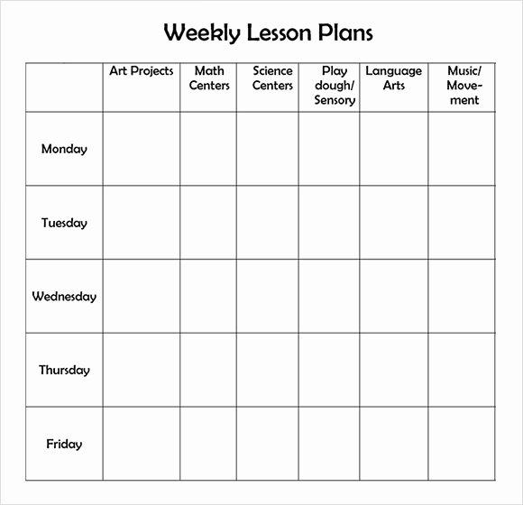 Preschool Lesson Plan Template Pdf Fresh 9 Sample Weekly Lesson Plans