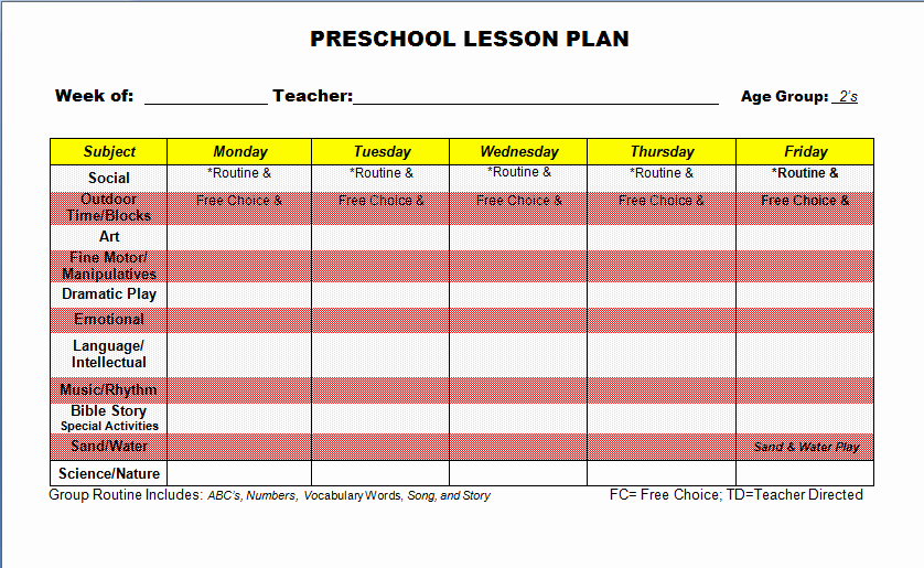 Preschool Lesson Plan Template Word Awesome Preschool Lesson Plan Template
