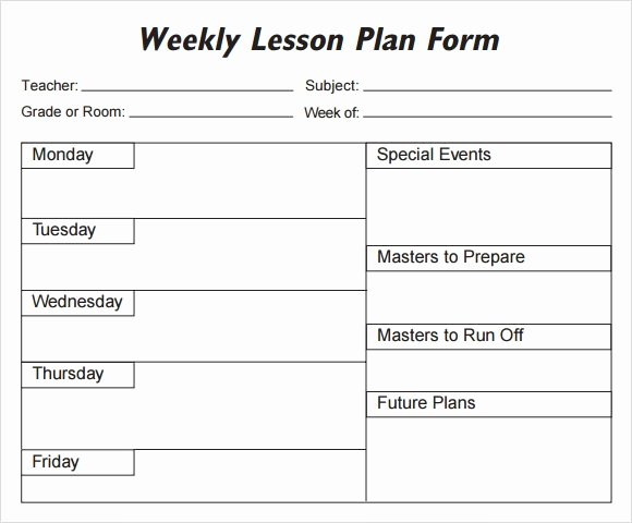 Preschool Lesson Plan Template Word Fresh Weekly Lesson Plan 8 Free Download for Word Excel Pdf
