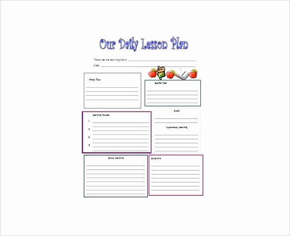 Preschool Lesson Plan Template Word New Lesson Plan Template for Word 6 Elementary Lesson Plan