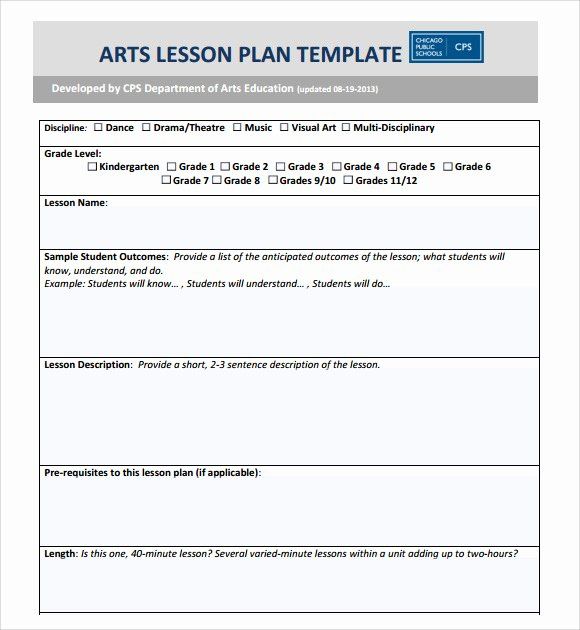 Preschool Lesson Plan Template Word New Sample Art Lesson Plans Template 7 Free Documents In Pdf
