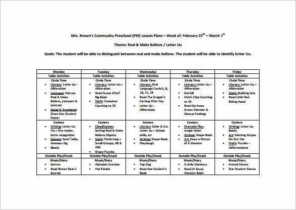 Preschool Weekly Lesson Plan Template Beautiful Preschool Lesson Plan Template 11 Free Pdf Word format