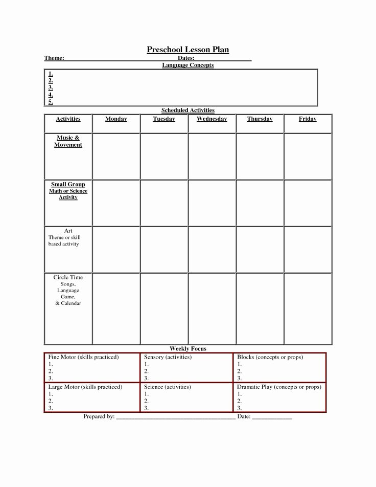 Preschool Weekly Lesson Plan Template Inspirational Printable Lesson Plan Template Nuttin but Preschool