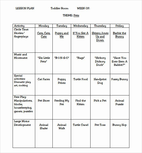 Preschool Weekly Lesson Plan Template New Sample toddler Lesson Plan 9 Example format
