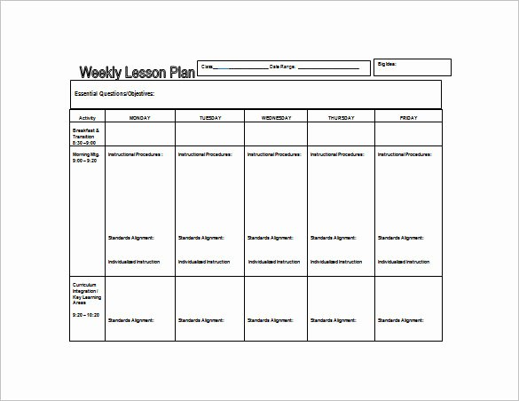 Preschool Weekly Lesson Plan Template Unique Weekly Lesson Plan Template 8 Free Word Excel Pdf