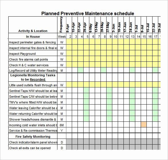 Preventative Maintenance Plan Template Lovely 37 Preventive Maintenance Schedule Templates Word