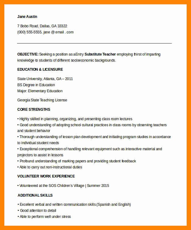 Principal Entry Plan Template Fresh 8 Entry Level Teacher Resume