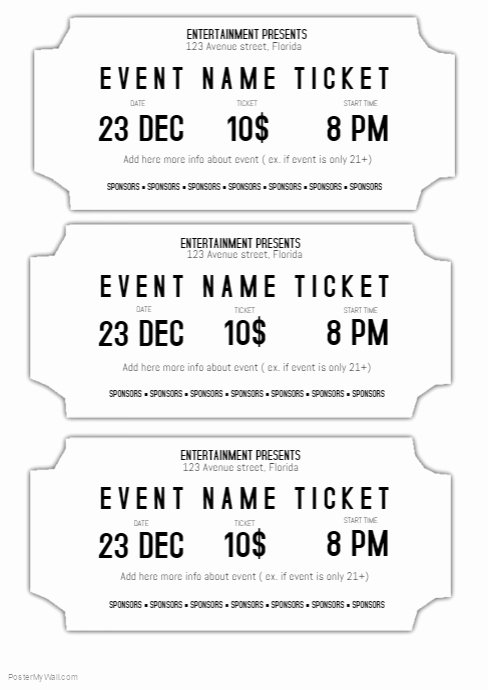 Print Tickets Free Template Elegant event Ticket Template Black and White Printable
