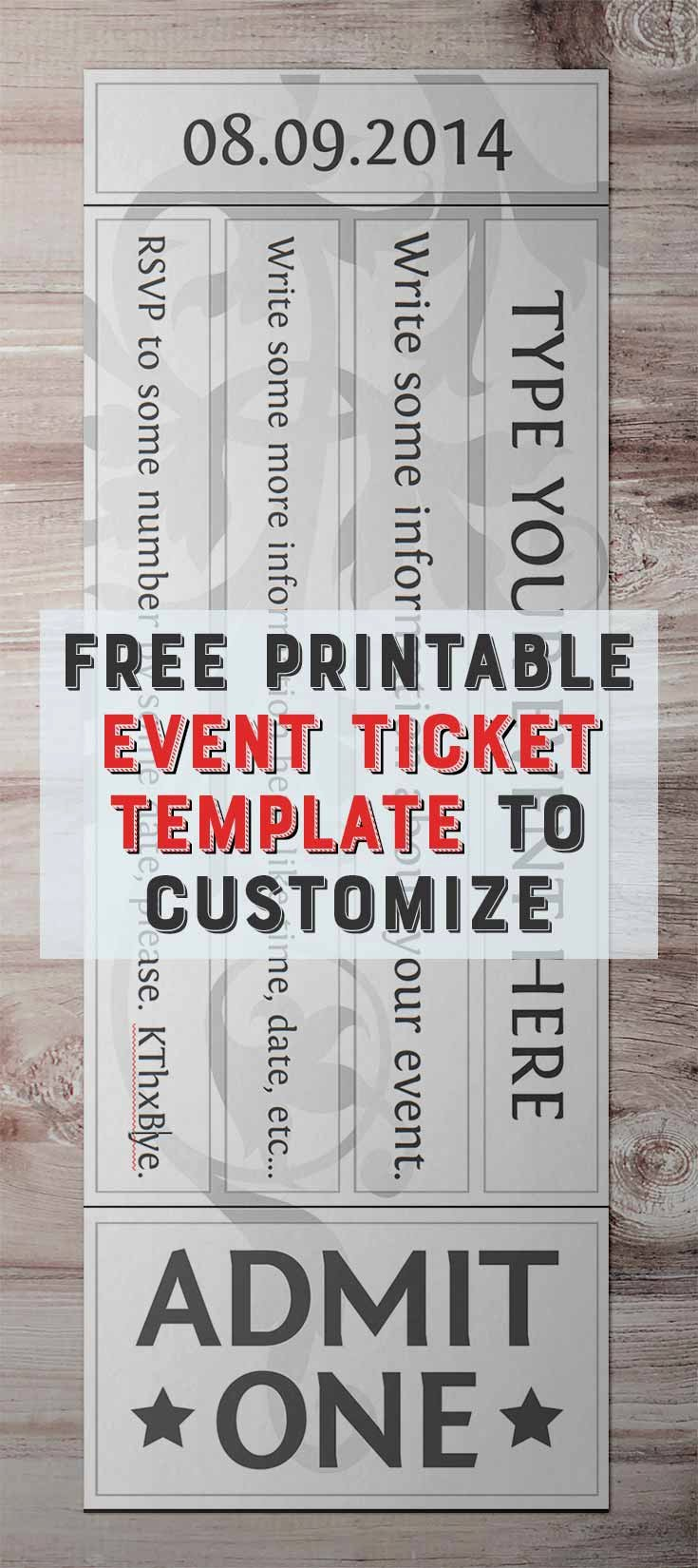 Print Tickets Free Template Fresh Free Printable event Ticket Template to Customize