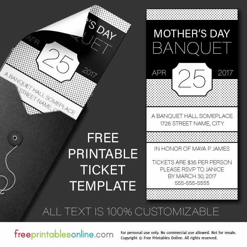 Print Tickets Free Template Lovely Free Printable Banquet Ticket Template
