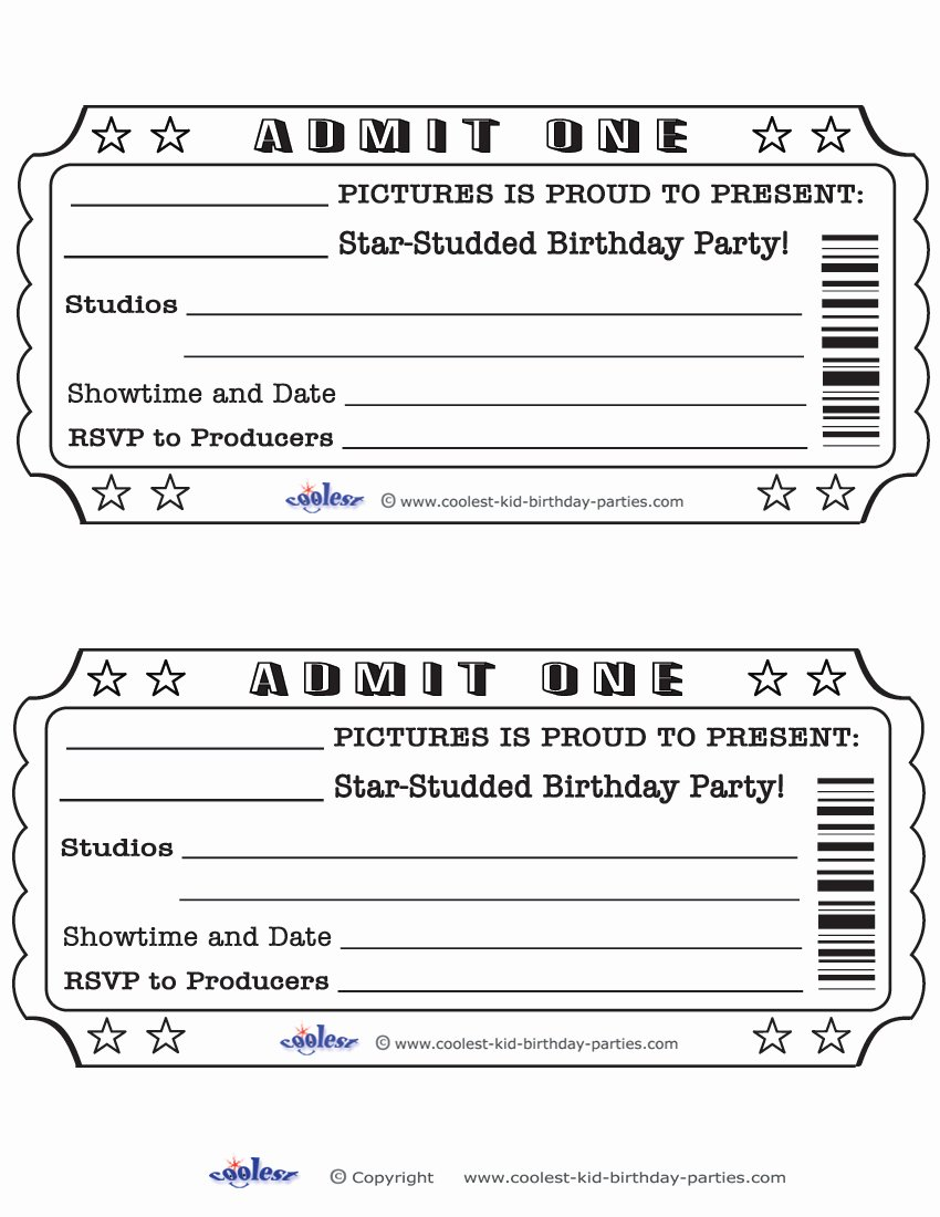 Print Tickets Free Template New Blank Movie Ticket Invitation Template Free Download Aashe