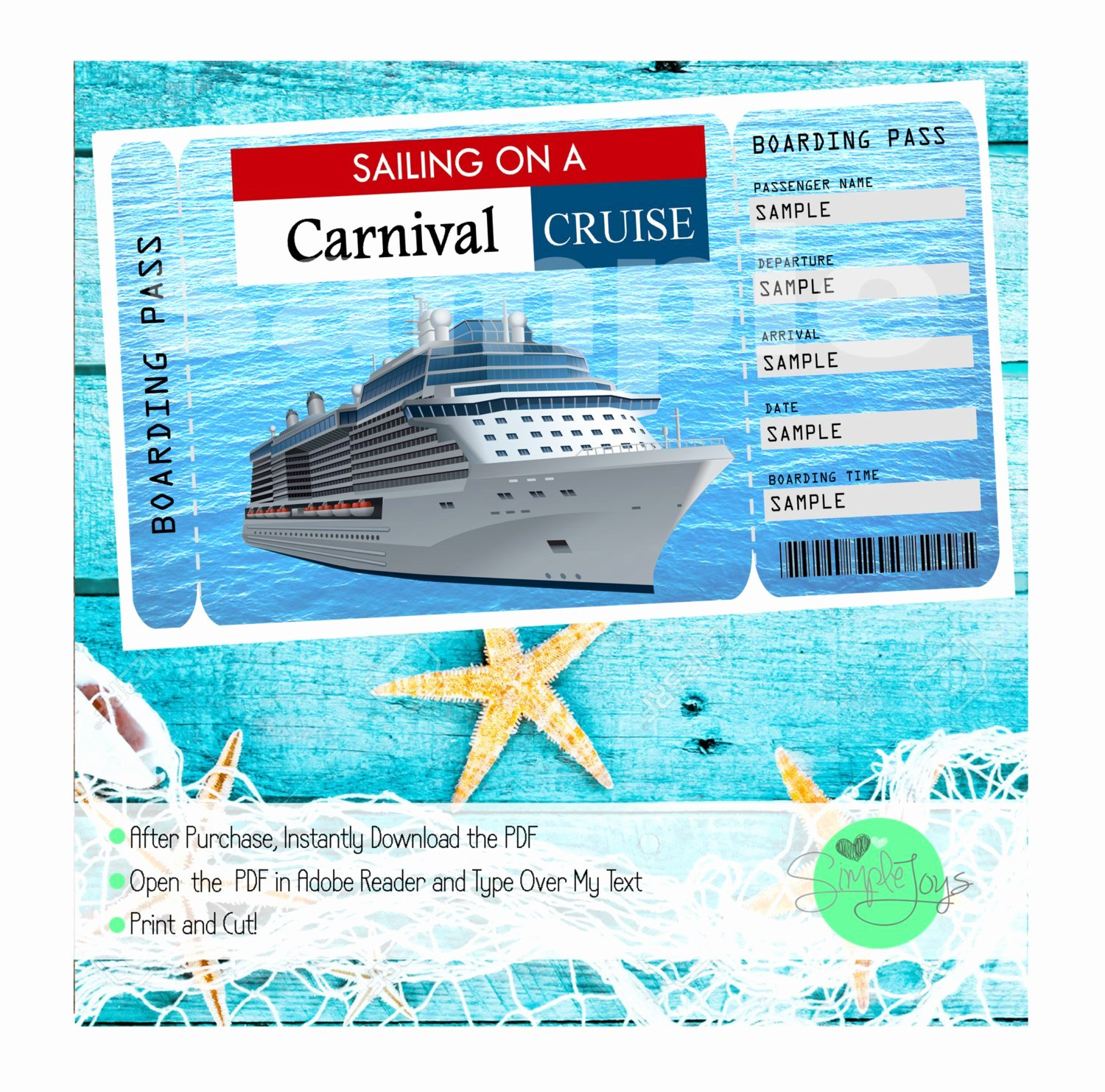 Print Tickets Free Template Unique Carnival Cruise Printable Ticket Boarding Pass Customizable