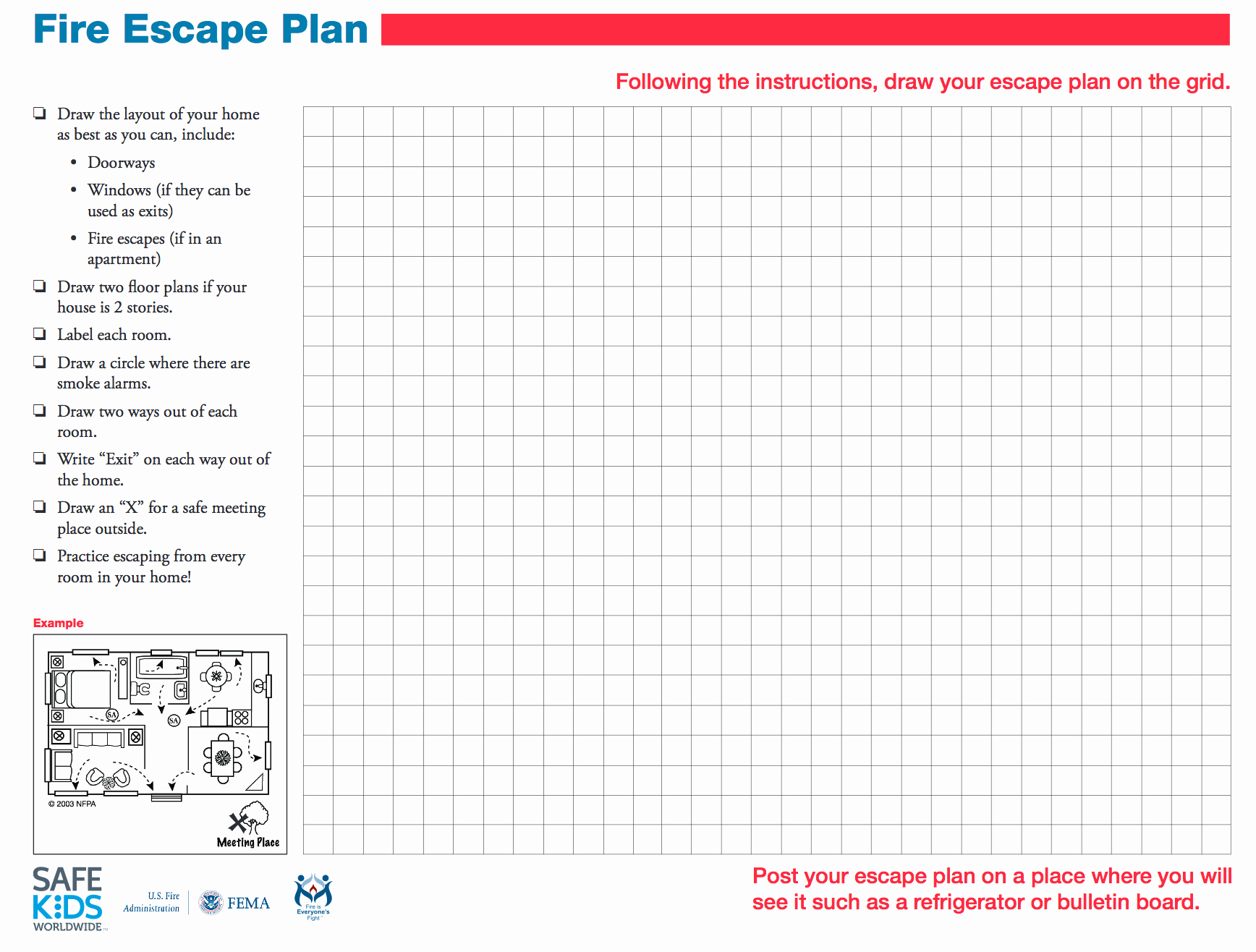 Printable Fire Escape Plan Template New Involving Kids In Fire Safety Safe Ride 4 Kids
