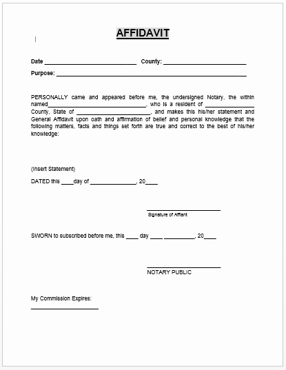 Printable Notarized Letter Of Residency Template Beautiful Affidavit form Microsoft Word Templates