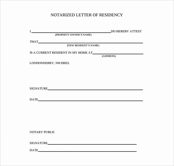 Printable Notarized Letter Of Residency Template Beautiful Sample Notarized Proof Address Letter