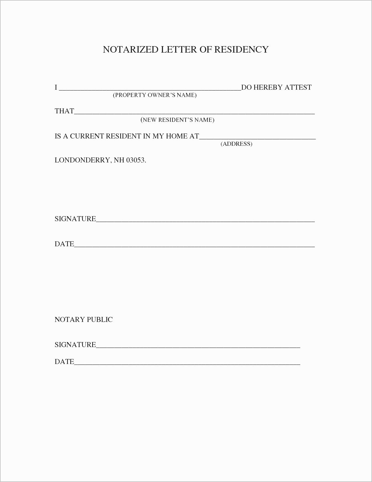 Printable Notarized Letter Of Residency Template Best Of Proof Residency Letter Notarized Template Samples