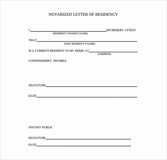 Printable Notarized Letter Of Residency Template Inspirational 7 Notarized Letter Template Doc Pdf