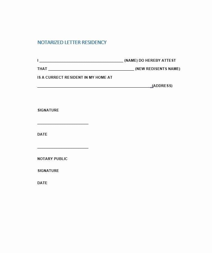 Printable Notarized Letter Of Residency Template Lovely Printable Notarized Letter Residency Template