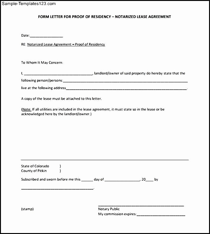 Printable Notarized Letter Of Residency Template New Blank Notarized Letter for Proof Of Residency Template Pdf