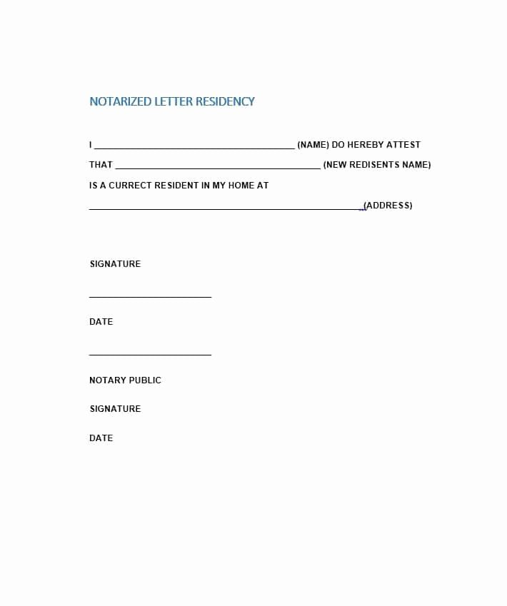 Printable Notarized Letter Of Residency Template New Free Notarized Letter Template Sample format Example