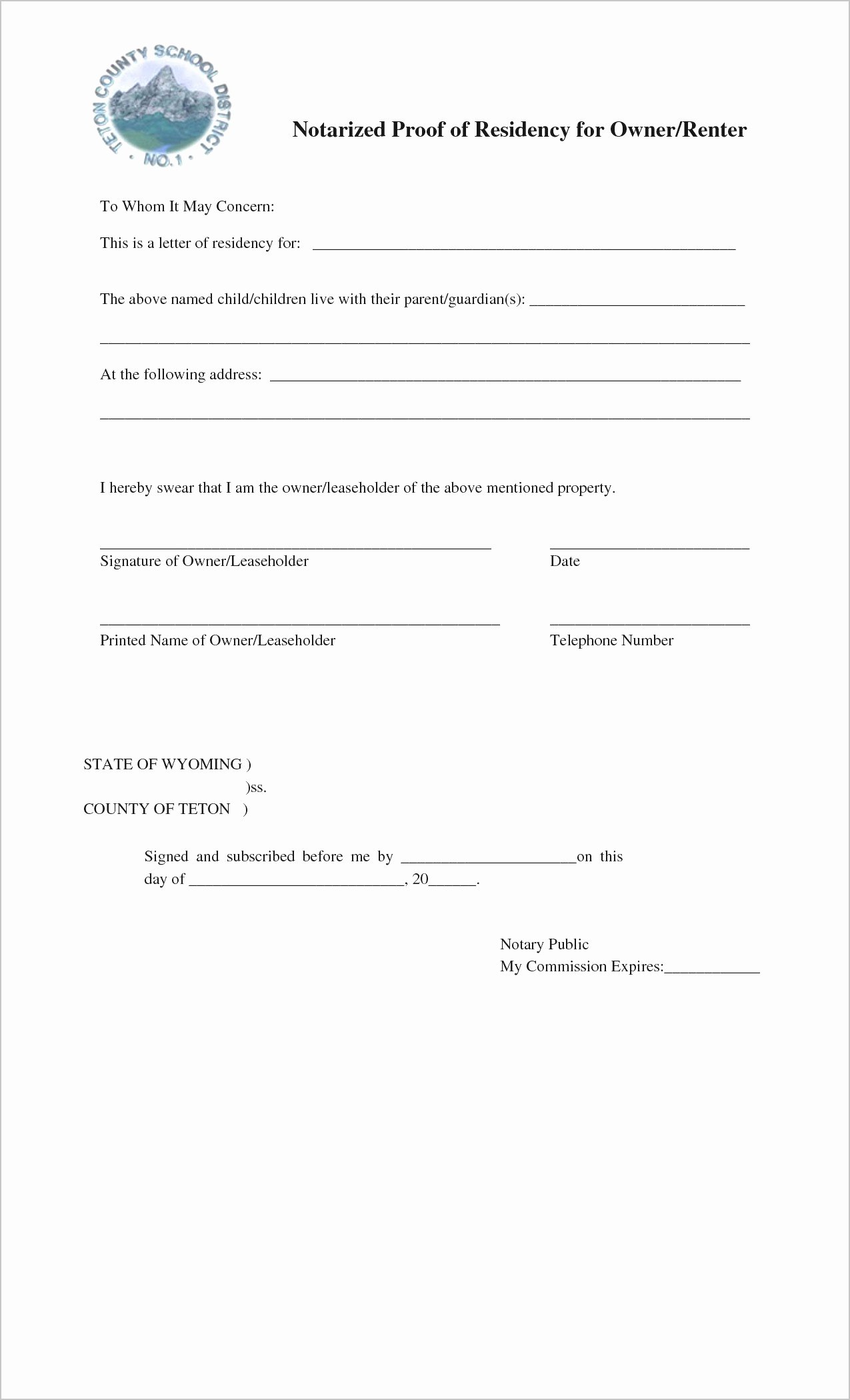 Printable Notarized Letter Of Residency Template Unique Printable Notarized Letter Residency Template